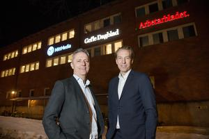 Amedias koncernchef Are Stokstad och Bonnier news vd Anders Eriksson siktar på lönsamhet för Mittmedias 28 tidningar redan nästa år.