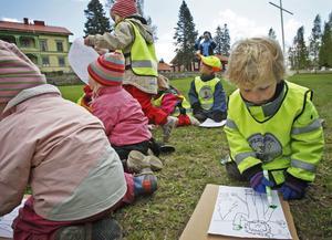 Lias Brandén, 3 år, gav Skogsmulle lite färg i en teckning.