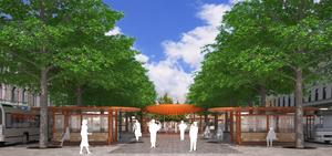 Sundsvalls nya busshållplatser sett från Storgatan. I höst börjar bygget.