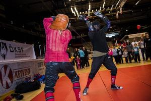 Andreas Aronsson och Anders Nilsson demonstrerar klassisk svärdfäktning. HEMA är samlingsnamnet för den typen av kampsport.