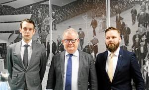 Jesper Brandberg (L), Anders Teljebäck (S) och Markus Lindgren (MP).