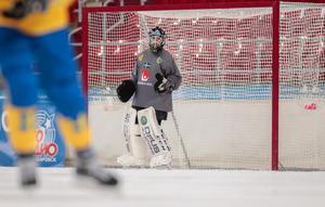 Sveriges målvakt Anders Svensson i VM-matchen mot Finland.Bild: Rikard Bäckman / Bandypuls.se / TT
