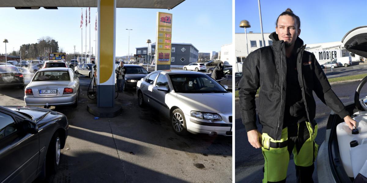 """Rykte spreds om gratis bensin i centrala Jönköping: """"Folk körde över trottoarer, det var galet här"""""""