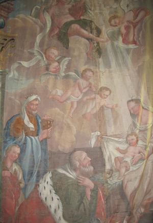 Altarmålningen från Delsbo kyrka, Mäster Paul Hallbergs berömda skildring av Konungarnas tillbedjan från 1764.