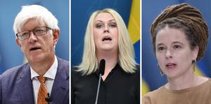 FHM:s generaldirektör Johan Carlson, socialminister Lena Hallengren och kultur- och demokratiminister Amanda Lind medverkade vid den digitala pressträffen.