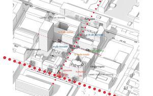 Förslag på hur det skulle kunna se ut om Lunakvarteret byggs upp på nytt. Illustration Spacescape