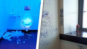 Antons egna bilder från tidigare dagar. Toaletterna bryts upp och används, missbruk sker öppet och det klottras på väggarna.