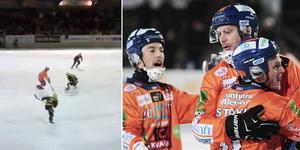 Bilden till vänster visar situationen som gjorde Patrik Nilsson förbannad på Pontus Vilén. Tv-klipp kommer under kvällen.