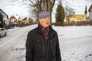 – Det vore tråkigt om de försvann, men stan är bra på att plantera nya träd så jag tror det blir bra, säger Karl-Olof Elmsjö när han promenerar förbi almarna på Västra Ringvägen.