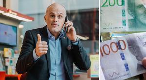 Svenska Spels vinnarambassadör smittades av glädjen hos pensionärsparet som vann över tolv miljoner på lördagen. Bild: Alexander Donka/Svenska Spel, Fredrik Sandberg/TT