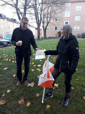 Christina Westman besvarar frågor vid målgången från Lennart Andersson. Bild: Maj-Britt Norlander.