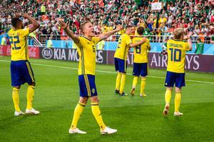 De svenska spelarna får höga betyg efter segern mot Mexiko. Bild: Petter Arvidson/Bildbyrån.