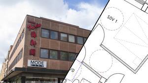 Vi har fått ritningarna på planlösningen till en av våningsplanen som nu byggs om till lägenheter.