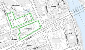 Kommunen vill bygga parkeringshus med plats för bostäder ovanpå, nära Mälarbron och Tom Tits experiment på fastigheterna som kallas Spinnrocken och Separatorn.Karta: Södertälje kommun