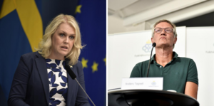 Vänster: Lena Hallengren, socialminister. Höger: Anders Tegnell, statsepidemiolog