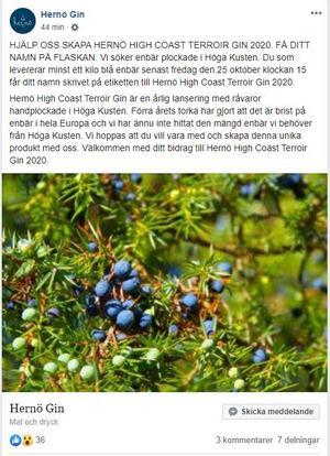 I ett Facebookinlägg uppmanas allmänheten att ge sig ut i skogarna för att plocka enbär, en bristvara på grund av förra årets torka. Som tack får man sitt namn på flaskans etikett.