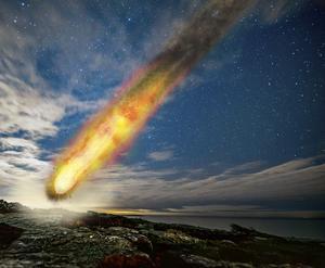 En illustration av ett meteoritnedslagsscenario likt det som skedde vid Siljan för 380 miljoner år sedan. Foto och illustration: Henrik Drake