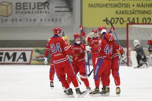 Ryssland firar efter Arkhipkins 2–0-mål mot Sverige.