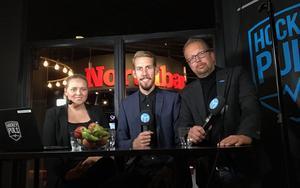 ST-sportens och Hockeypuls Jennifer Engström, Eric Westlund och Andreas Lidén.