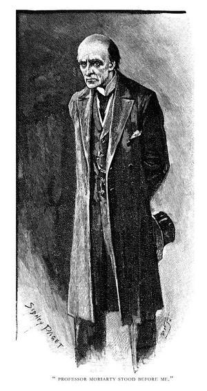 Sherlock Holmes ärkefiende professor Moriarty . Illustration av Sidney Paget från 1893.