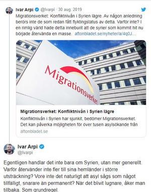 Skärmdump från Twitter.  Ivar Arpi är ledarskribent på SvD.