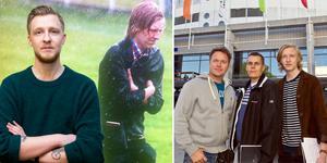 Vänster: 2011. William Holm flyr regnet under en ungdomsturnering. Höger: Jonas Bilberg, Pasi Hiirikoski och William Holm bevakar SHL-upptaktsträffen.