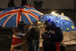 Regnigt i Storbritannien, paraplyerna visar oenigheten om EU-medlemskapet. Foto: AP/TT