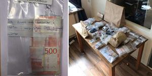 Fynden som gjordes i lägenheten fyllde ett helt bord. Bilder från polisens förundersökning.