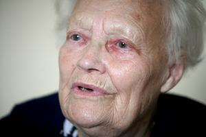 Nekad. 89-åriga Dagmar Danielsson har besökt Solsidans vårdcentral för att hon ser grumligt på ett öga men stafettläkaren nekade henne att få remiss till en specialist med hänvisning till hennes ålder. Foto:Thomas Isaksson