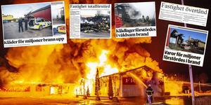 Klädbutiken Franzéns i Krylbo i Avesta kommun har varit svårt drabbat av stora bränder under 2000-talet. År 2000, 2015 och nu 2018 har det brunnit i företagets lokaler, både i butiken och lagret. Foto: Niklas Hagman, tidningsurklipp från Avesta Tidning, Södra Dalarnes Tidning och Dala-Demokraten.