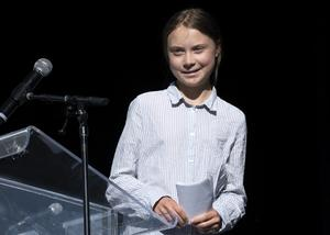 Greta Thunberg - vår tids miljöhelgon. Bild: Paul Chiasson/The Canadian Press