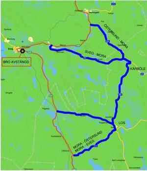 Trafiken på E45 mellan Sveg och Mora kommer att ledas om via Los och Kårböle under tiden som underhållsarbetet på bron över Inlandsbanan pågår.Karta: Trafikverket