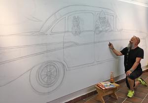 23 juli: Jan startar måleriprojektet . Den 25 juli var skissen så gott som klar.