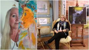 Rosy Lindvall och Anita Högback ställer under juli-månad ut sina verk på Galleri Ängelsbergs Brukshandel. Foto: Privat/Camilla Nonnen