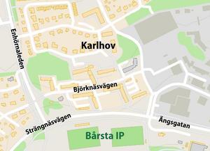 Karlhov ligger norr om Bårsta IP, öster om Ronna och väster om Snäckviken. Karta: Tomas Karlsson