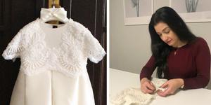 Annabel Masud och dopklänningen hon auktionerar ut.