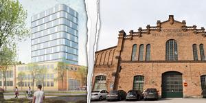 Byggplanerna på Kopparlunden får stark kritik och länsstyrelsen varnar för att den gamla industrimiljön kan skadas. Bild: Archus arkitektur/Sara Linderoth