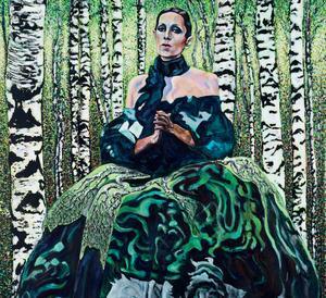Den här målningen på Sara Danius av Eva Zettervall finns med på utställningen som har vernissage på lördag.