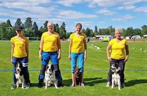 Nynäslaget som tog en fjärde plats i Sveriges första lag-SM i rallylydnad. Foto: Privat