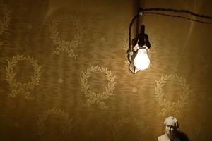 Glödlamporna var en stolthet som inte doldes av skärmar. Goethe får vackert stå ut med belysningen. Foto: Janerik Henriksson/TT