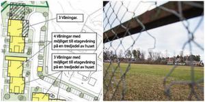 Nu finns ett nytt förslag på hur gamla IP i Nykvarn ska bebyggas. Snart får allmänheten ännu en chans att tycka till. Illustration ur kommunens förslag till plan- och genomförandebeskrivning. Bild: Mathias Jonsson