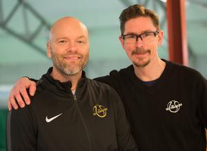 Toni Gustavsson och Mattias Pennonen från arrangörsklubben Falu TK är nöjda över arrangemanget av junior-SM. Veckans upplaga av JSM är den sjätte i ordningen på Lugnet.