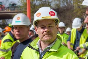 Magnus Eriksson, värmechef på Mälarenergi vid invigningen av ackumulatortanken.