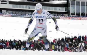 Oskar Svensson under Svenska skidspelen i mitten av mars i år.