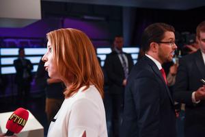 Annie Lööf i partiledardebatt. Bild: Pontus Lundahl/TT