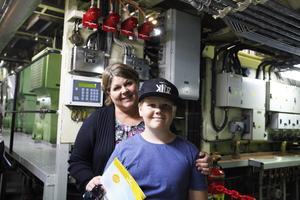 Susanne och Albin Sahlin besökte bland annat maskinrummet.