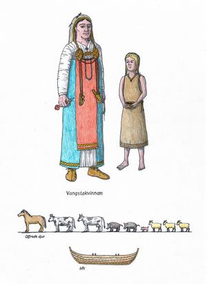 Ungefär så här bör de båda kvinnorna ha sett ut innan de begravdes i den märkliga graven i Vangsta. Teckning: Lars Högberg