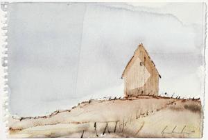 """STOLPE ELLER STAM? Finns några spår av människan i Gripenholms """"Skogen och jorden""""?CIVILISATIONENS ÄNDE. Björn Bernström målar akvareller som präglas av en trygg ödslighet – här """"Sista abonnenten""""."""