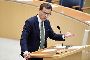 Moderaternas partiledare Ulf Kristersson (M)  under partiledardebatten i riksdagen.