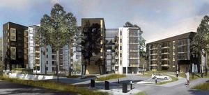 Mimer ville bygga dessa hus vid Jakobsbergsplatsen men planen drogs tillbaka efter protester. Bild: Archus arkitektur